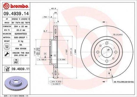 09.4939.14 BREMBO Тормозной диск вентилируемый
