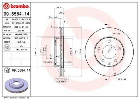 09.5584.14 BREMBO Тормозной диск вентилируемый