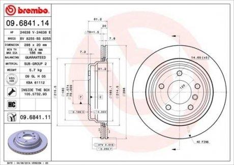 09.6841.11 BREMBO Тормозной диск вентилируемый