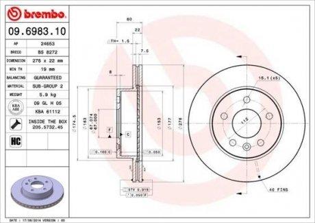 09.6983.10 BREMBO Тормозной диск вентилируемый