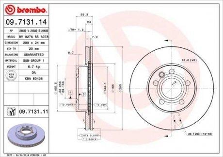 09.7131.14 BREMBO Тормозной диск вентилируемый