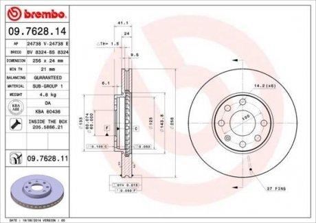 09.7628.14 BREMBO Тормозной диск вентилируемый