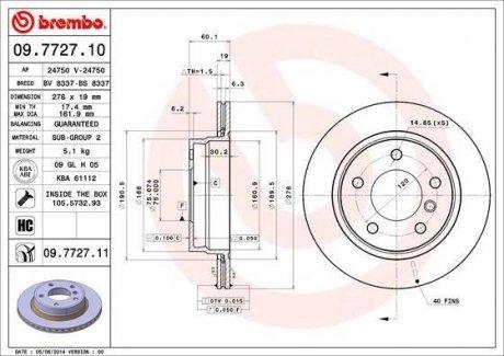 09.7727.11 BREMBO Тормозной диск вентилируемый