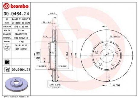 09.9464.24 BREMBO Тормозной диск вентилируемый