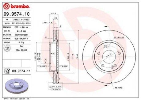 09.9574.10 BREMBO Тормозной диск вентилируемый
