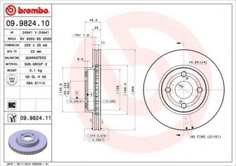09.9824.10 BREMBO Тормозной диск вентилируемый