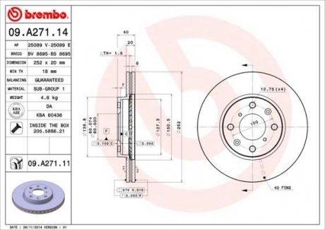 09.A271.14 BREMBO Тормозной диск вентилируемый