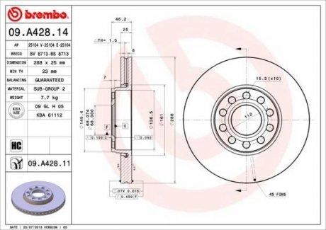 09.A428.14 BREMBO Тормозной диск вентилируемый