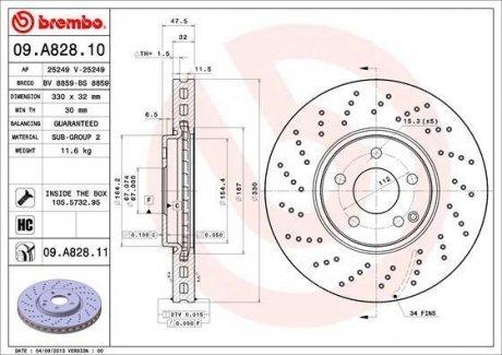 09.A828.11 BREMBO Тормозной диск вентилируемый