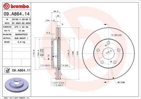 09.A864.14 BREMBO Тормозной диск вентилируемый