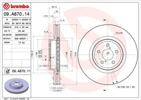 09.A870.14 BREMBO Тормозной диск вентилируемый
