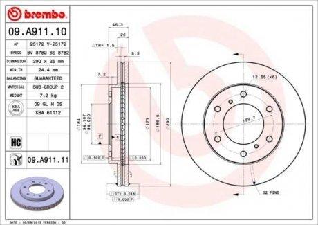 09.A911.10 BREMBO Тормозной диск вентилируемый