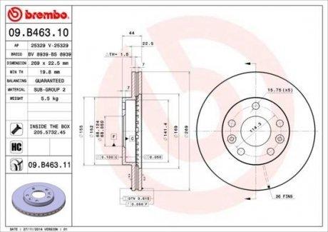 09.B463.10 BREMBO Тормозной диск вентилируемый